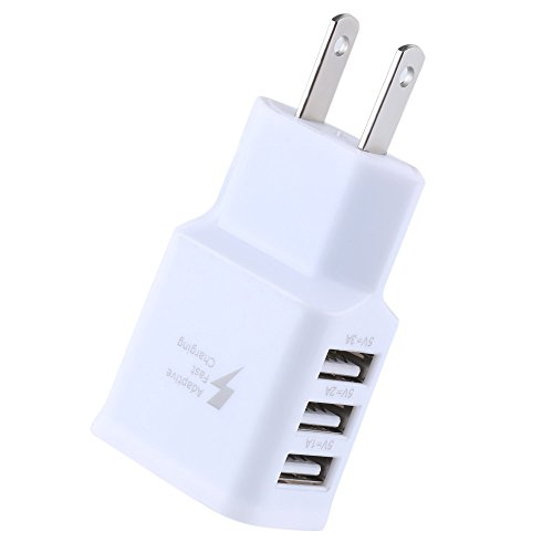 Lefthigh Travel 5V 2A 3Ports USB US Wall AC Adptive Fast Charger Adapter for Samsung ()