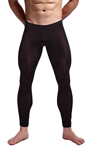 (WUAMBO Men's Mesh Long Johns Slim Sexy Legging Tights Black XL (Waist:32