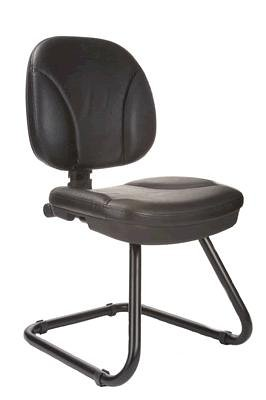 Chellgrove DP0033 Medium Back Visitor Chair In Black Leather