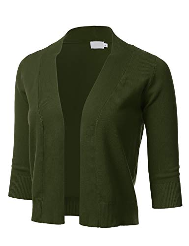 Women's Classic 3/4 Sleeve Open Front Cropped Cardigan Olive XL