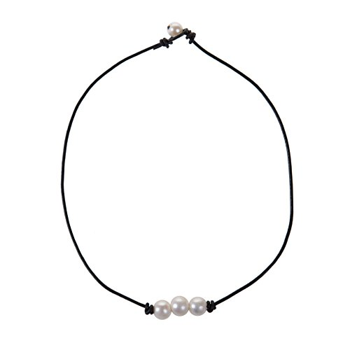 The Feeling 3 White Pearl Bead Choker Necklace Knotted on Genuine Leather Jewelry for Women 16