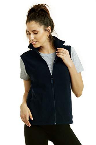 (ET TU Women's Zip Up Polar Fleece Vest (L, Navy))