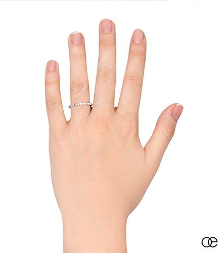 Bague Diamants 0.025 carats VV/VS Moncoeur Elita + Alliance Solitaire Pavé + Bagues De Fiançailles Diamants Femmes Or Blanc 375 + Alliances Pour Femmes Or Blanc Diamants + Coupe Parfaite + Écrin
