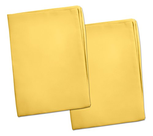 2 Yellow Toddler Pillowcases – Envelope Style – for Pillows Sized 13×18 and 14×19-100% Cotton with Soft Sateen Weave…