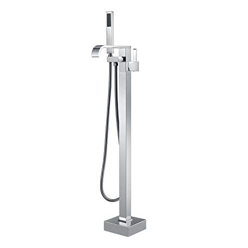 Freestanding Bathtub Faucet Tub Filler Faucets Chrome Floor Mount Brass Single Handle with Hand Shower