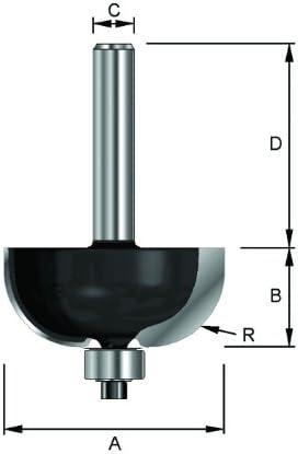 ENT 14744 Hohlkehlfr/äser HW A R 19 mm D 40 mm B 22,2 mm Schaft 47,6 mm mit Kugellager HM C Durchmesser 12 mm
