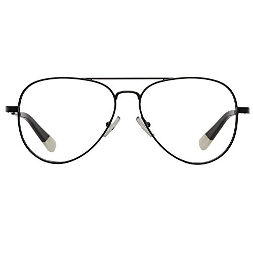 BLUEref Bronson Blue Light Blocking Glasses, Improves Sleep Quality, Prevents Headaches, Improves Concentration, Reduces Digital Eye Strain, Reduces Fatigue, Aviator Glasses, Transparent Lens, - Expensive Most Aviators