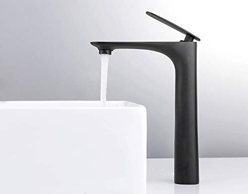 Black Brass Basin Faucet Single Handle Waterfall Basin Mixer Tap Hot & Cold Bathroom Faucets Sink Waterfall Faucet