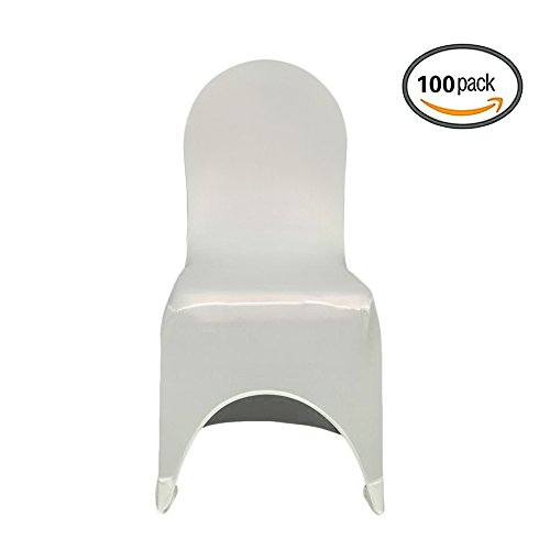 COOCHEER Universal 100pcs White Chair Covers Spandex/Lycra Metal & Plastic Folding Decoration For Wedding, Banquet, Party by COOCHEER