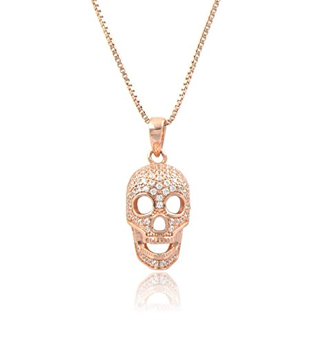 (Rose Gold Tone Sterling Silver Cz Skull Charm Necklace 18