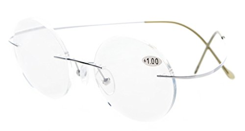 Eyekepper Titanium Rimless Round Reading Glasses Circle Readers Silver - Titanium Benefits Glasses