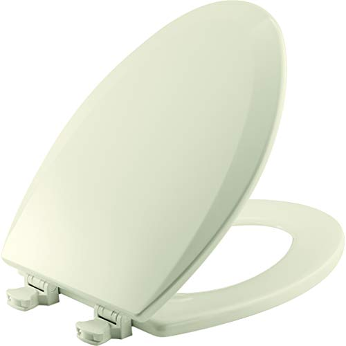 Bemis 1500EC 346 Wood Elongated Toilet Seat With Easy Clean & Change Hinge, Biscuit/Linen