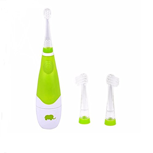 Lucktao First Soniclean Baby Teething Toothbrush Toddles LED Light Waterproof Electric Toothbrush Battery Toothbrushes Oral Care 2 Tooth Brush Heads (Green)