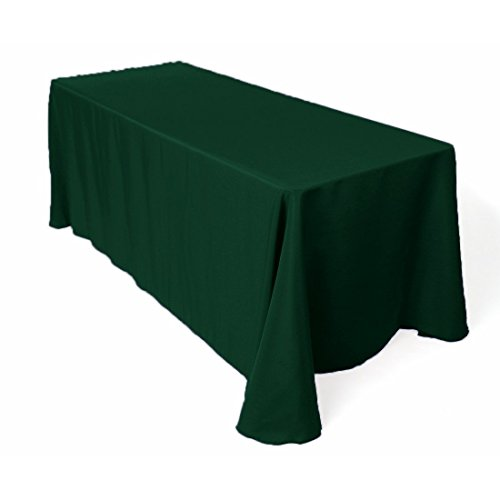Gee Di Moda Rectangle Tablecloth - 90 x 156 Inch - Hunter Green Rectangular Table Cloth for 8 Foot Table in Washable Polyester - Great for Buffet Table, Parties, Holiday Dinner, Wedding & More -