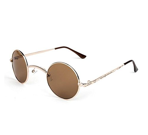 Retro redondo polarizado hippy Dorado metal caja marco personalidad pequeña Steampunk Marrón puente sol no gafas de de wwqpAxTg1