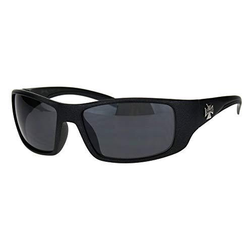 Choppers 90s Classic Mens Biker Gangster Plastic Sunglasses Metallic Black