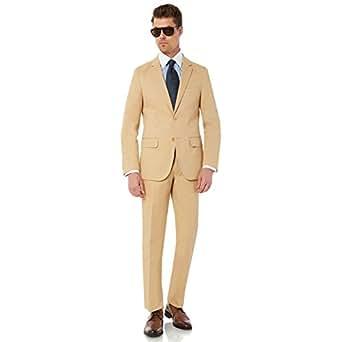 Enzo Mens 2 Button 2 Piece Modern Fit Cotton Suit Khaki 38R