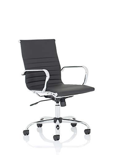 Koppla av kontor Nola mellanbundet läder bekväm snygg modern kontorsstol med fasta armar, ryggstöd, datorskrivbordsstol, ergonomisk, verkställande stol – svart