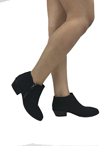 Stacked Marie Cut Zipper Black Heel Side Bootie V Women's Ankle Arianna Low Perforated Chunky Bella BwpPAHA