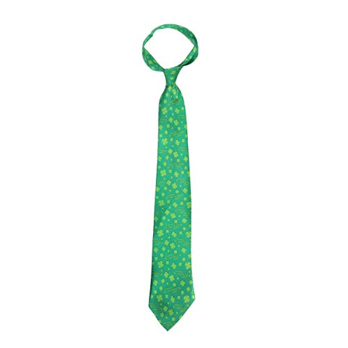 (Party Holiday Christmas Props Supplies Accessories Irish Shamrock Design Men's St. Patrick's Day Green Clover Tie Disposable Necktie Holiday Cosplay Costume Tie)