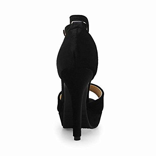 Carolbar Vrouwen Strass Platform Enkelbandje Stilettos Sandalen Zwart