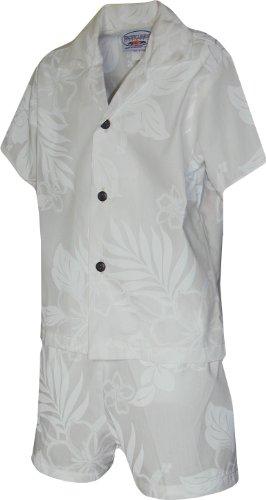 Pacific Legend Boys Fern Floral 2pc Set WHITE 2T ()