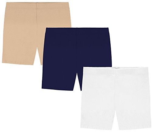 My Way Girls' Value Pack Solid Cotton Bike Shorts - Khaki, Navy, and White - 16 -