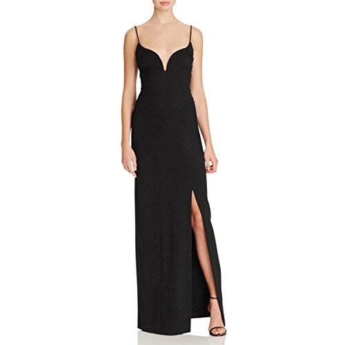 Nicole Miller Womens Sweetheart Neck Slit Evening Dress Black 4