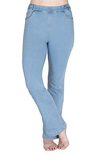 PajamaJeans Women High-Waist Bootcut Stretch Knit Jean, Clearwater Wash, XL 16-18