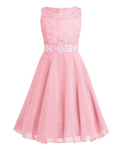 FEESHOW Kids Girls Sequin Lace Wedding Pageant Party Formal Communion Gown Flower Girl Dress Crystal Belt Pearl Pink ()