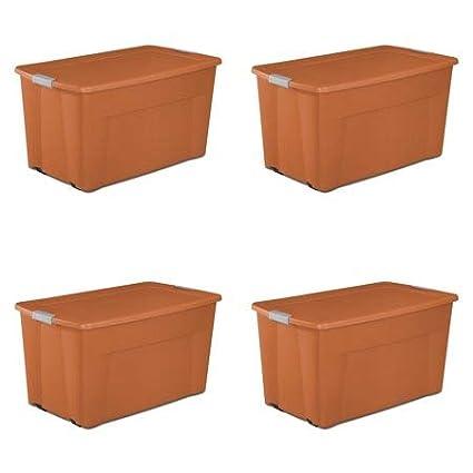 Amazon Com Sterilite 45 Gal Wheeled Tote Orange Spice Hamper