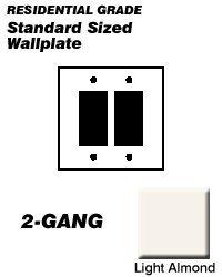 Leviton 001-80409-00T Light Almond 2 Gang Decora Wall Plate