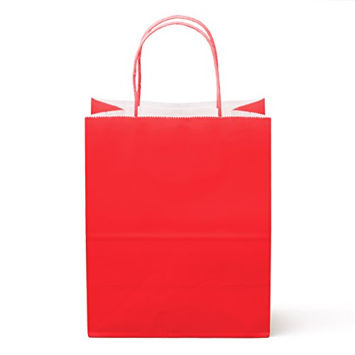 12CT Medium Red Food Safe Paper and Ink, Natural (Biodegradable), Vivid Colored Paper Goody Kraft Bag with Colored Sturdy Handle (Medium, Red) (Bag Red Gift)