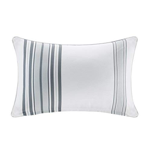 Newport Printed Stripe 3M Scotchgard Outdoor Modern Throw Pillow Contemporary Striped Fashion Oblong Decorative Pillow, 14X20, Grey [並行輸入品] B07R6Z1JTP