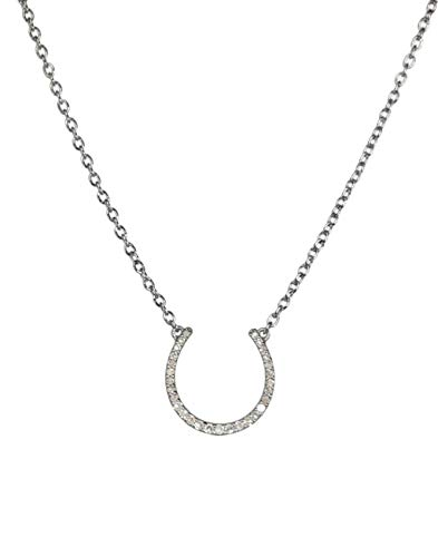 Genuine Diamond Horseshoe Necklace- Oxidized Sterling Silver- (.20) cttw.- 16-18