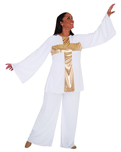 (Body Wrappers 621 / 621XX Womens Praise Dance Cross Components Pullover (X-Large, White w/ Gold))