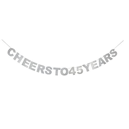 waway Cheers To 45 Birthday Banner Silver Glitter Heart For 45th Anniversary 45 Years Old Birthday Party Decoration Supplies