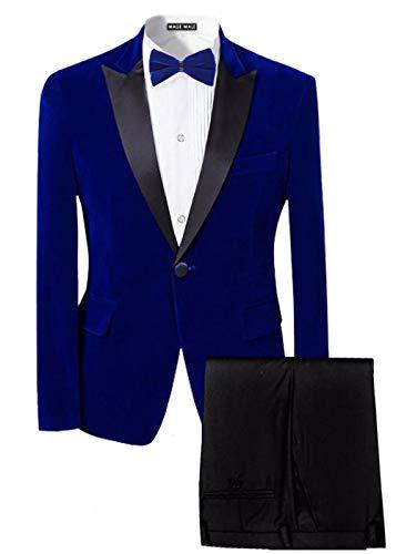 MAGE MALE Men's 2-Piece Suit Velvet Blazer Party Tuxedo Slim Fit One Button Stylish Dinner Jacket & Pants & Bow Tie (Blue 1, Medium) ()