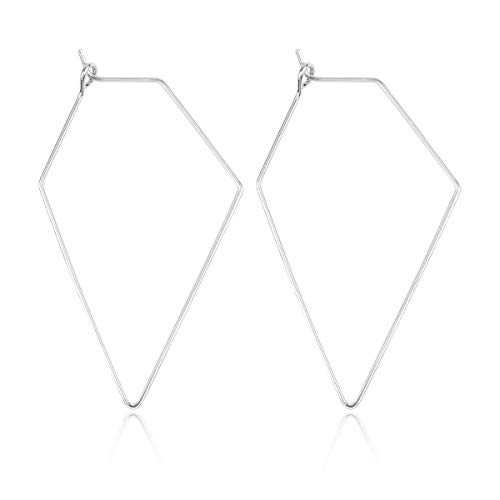 RIAH FASHION Simple Geometric Polygon Lightweight Hoop Earrings - Classic Thin Wire Delicate Threader Dangles Octagon/Pentagon/Hammered Curved Crescent Arc (Rhombus Silver)