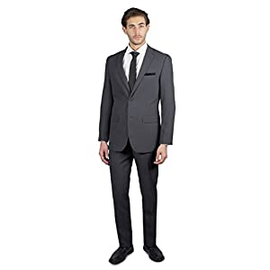 Alain Dupetit Men's Two Button Slim Regular Fit Suit in Many Colors