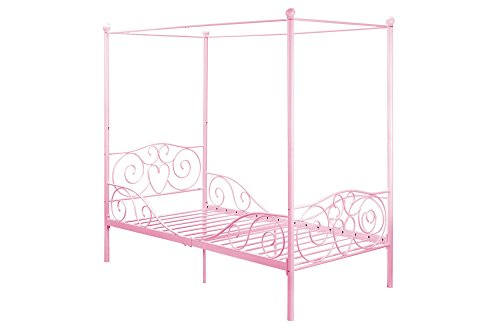 DHP Canopy Bed with Sturdy Metal Frame, Twin Size, Pink
