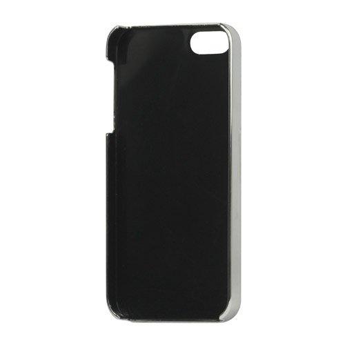 Apple iPhone 5 5S Case Schale Hülle Elegant Croco Design Silber Rahmen Braun
