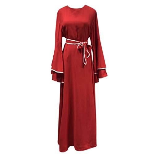 (KIKOY Summer Women Muslim Solid Robe Maxi Dress Red )