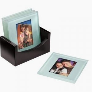 NEW PHOTO COASTER GLASS PHOTO PICTURE FRAME TABLE MATS SET by Cherished Accents