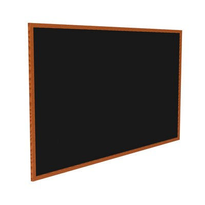 Recycled Bulletin Board Surface Color: Black, Frame Finish: Cherry Oak, Size: 4'5