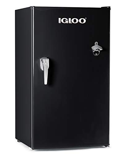 Igloo IRF32RSBK Classic Compact Single Door Refrigerator Freezer with with Chrome Handle & Bottle Opener, 3.2 Cu.Ft, (Best Garage Door Opener Deal)