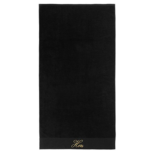 Kaufman - Terry Cloth Bathrobes 100% Cotton - His and Hers Embroidered Velour Shawl Set of Robes with His and Hers Black Towel Set 30''x58'' 4-PK by Ben Kaufman Sales (Image #3)