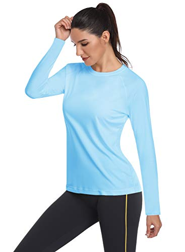 HISKYWIN Women's UPF 50+ Sun Protection Long/Short Sleeve Outdoor T-Shirt Athletic Top Rashguards HF109-Light Blue-XXL (Best All Day Sun Protection)