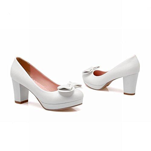 MissSaSa Damen elegant Chunky high heel Plateau Pumps mit Schleife Weiß
