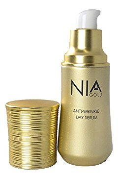 Nia Gold Luxury Skin Care. Anti-Wrinkle Day Serum with Pure 24 KT Gold, Vitamin E, Honey and Caviar. 1oz.